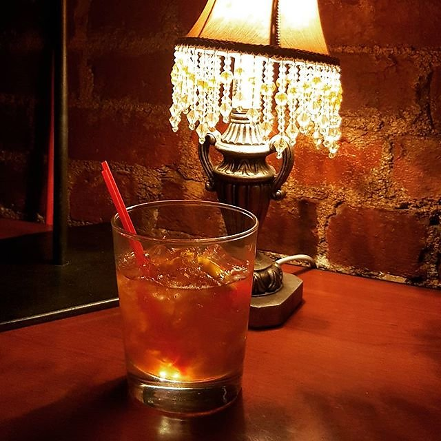 Having and old fashioned at Bossy Grrls Pin Up Joint #Whiskey #pinup #grrls #oldfashioned